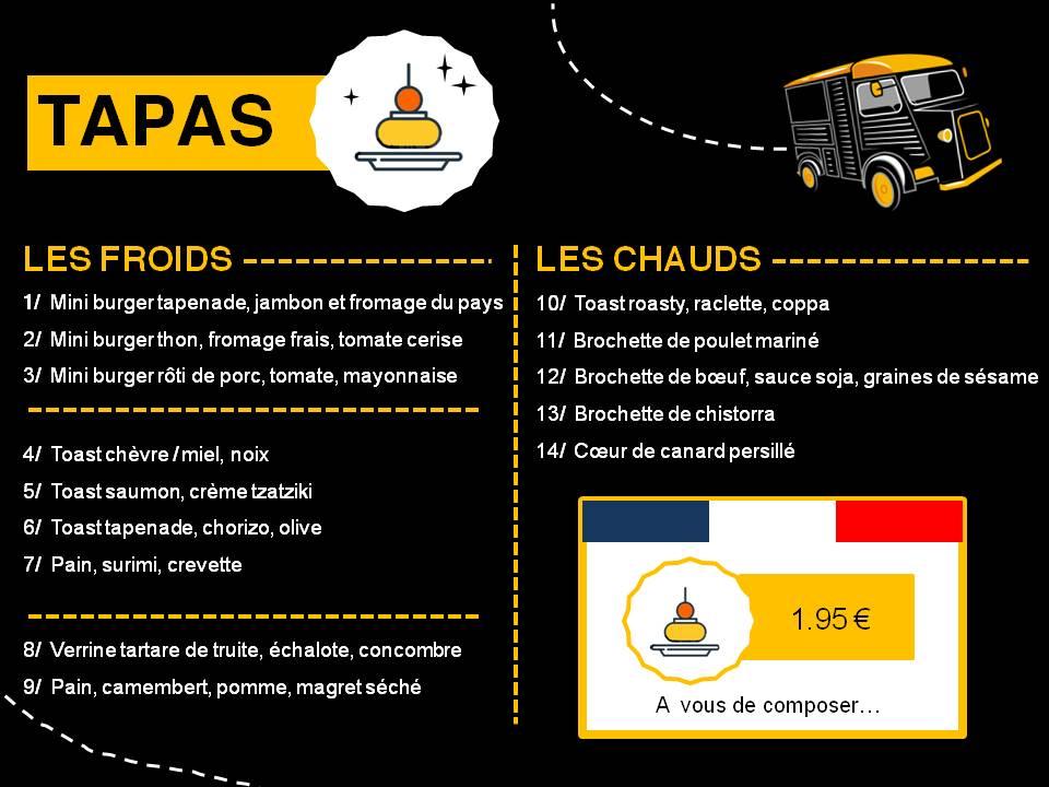 Carte Tapas - Mr Vagabond restaurant